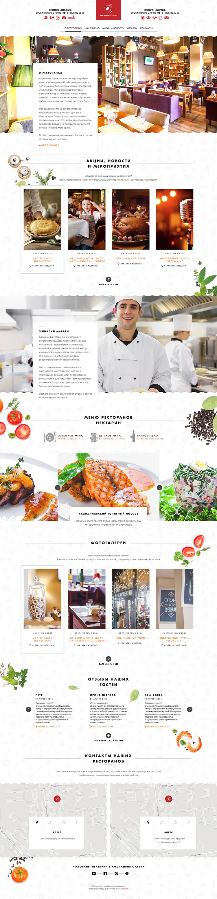 Сайт ресторанов Нектарин